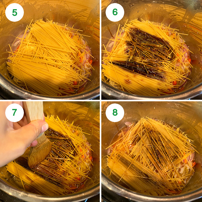 step by step picture collage of making vegan lo mein in the instant pot