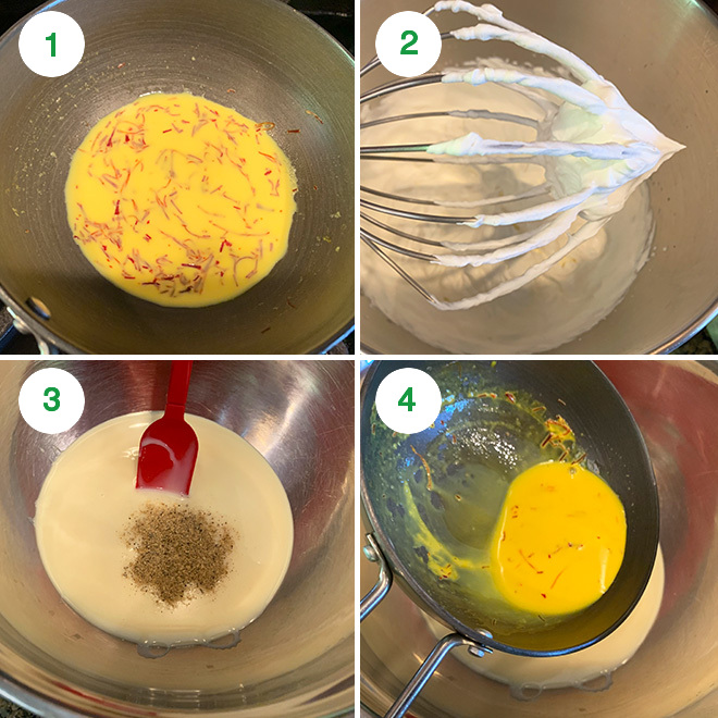 step by step picture collage of making kesar elaichi ice cream