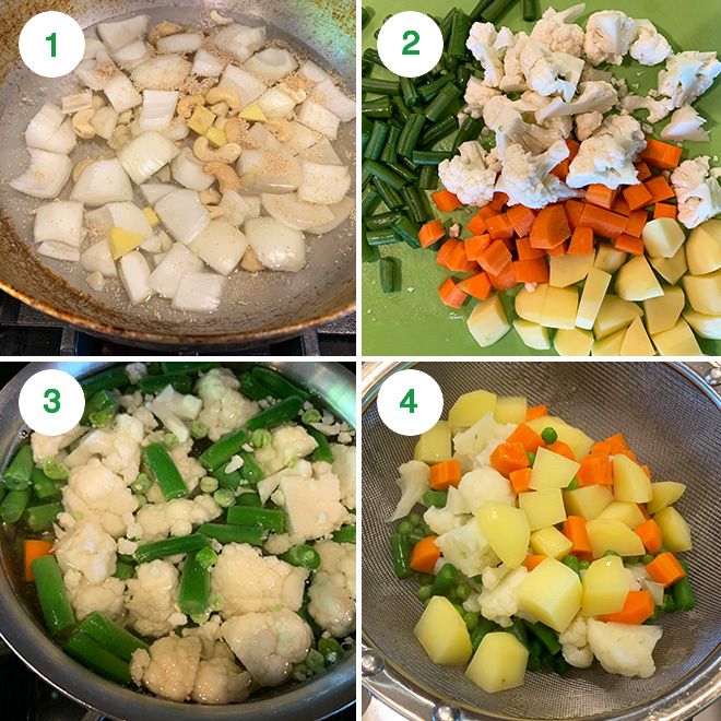 step by step picture collage of making navratan korma