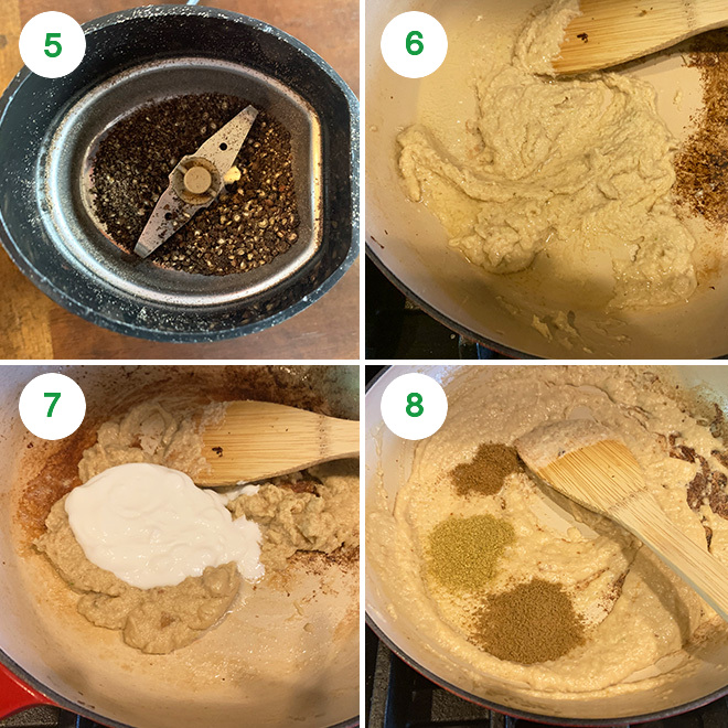 step by step picture collage of making paneer kali mirch