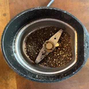 peppercorns crushed in a spice grinder