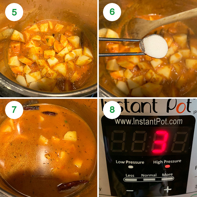 step by step picture collage of making aloo rasedar in instant pot