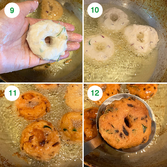 step by step picture collage of making medu vada at home