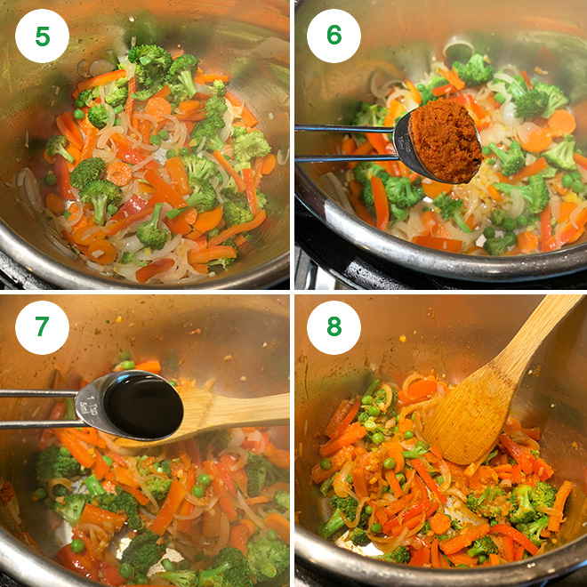 step by step picture collage of making quinoa fried rice