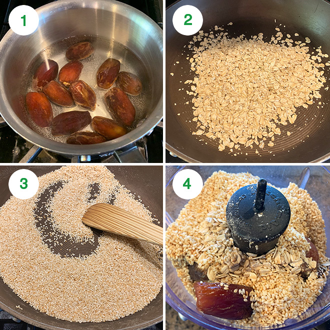 step by step picture collage of making sesame oats ladoo