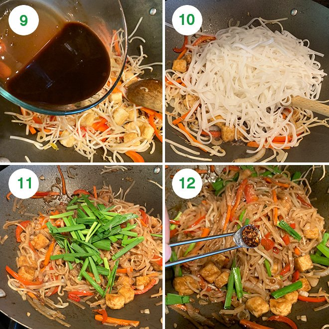 step by step picture collage of making vegan pad thai