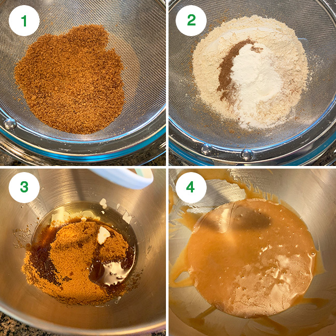 step by step picture collage of making whole wheat jaggery cake