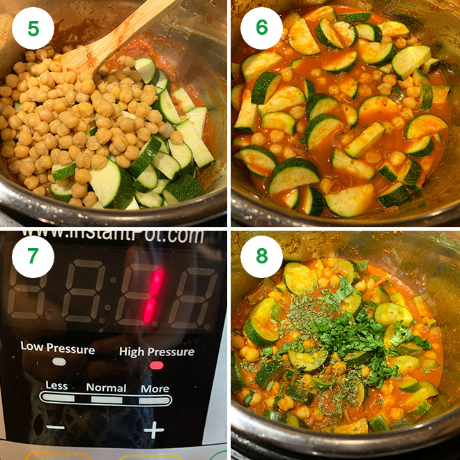 step by step picture collage of making zucchini chickpea curry