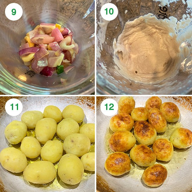 step by step picture collage of making punjabi dum aloo