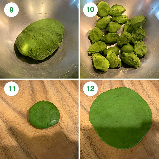 step by step picture of making spinach puri