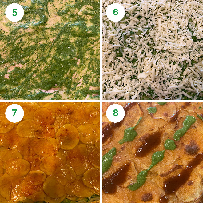 step by step picture collage of making aloo chaat pizza