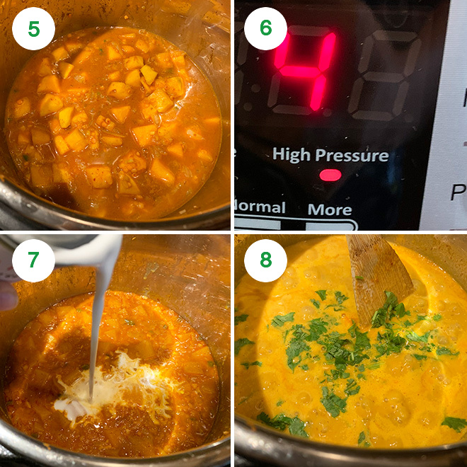 step by step picture collage of making butternut squash lentil curry in instant pot