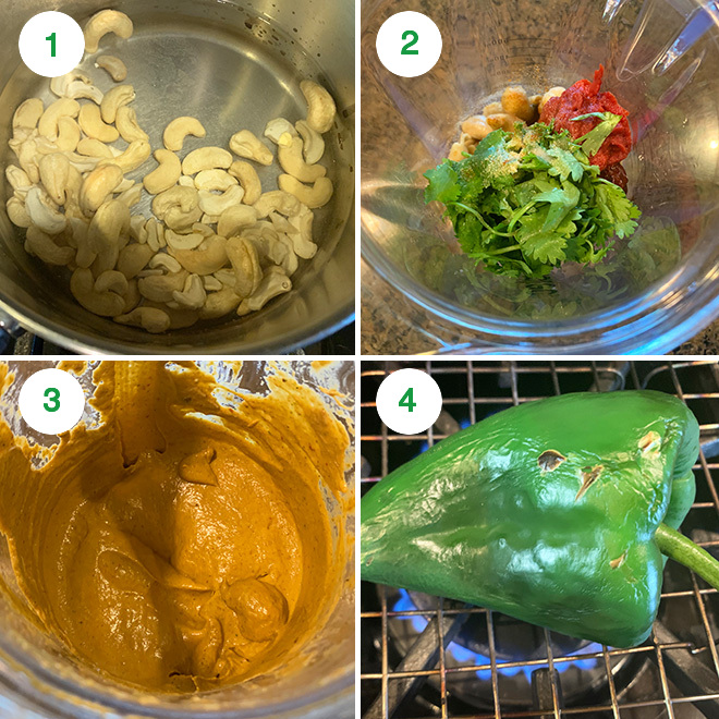 step by step picture collage of making cauliflower corn poblano tacos