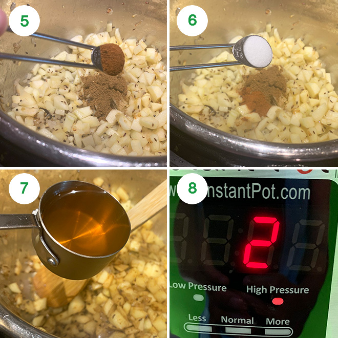 step by step picture collage of making apple chutney in instant pot