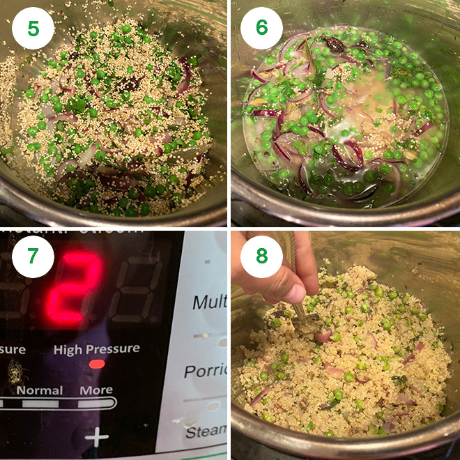 step by step picture collage of making quinoa matar pulao in instant pot