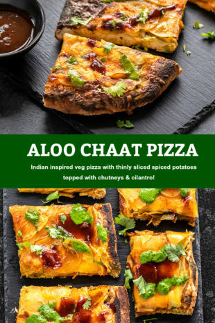 Pinterest graphic for aloo chaat pizza