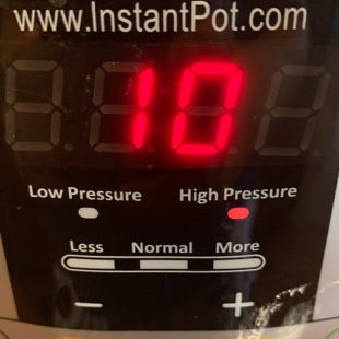 instant pot timer displaying 10 minutes