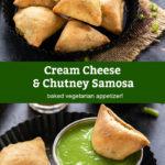pinterest graphic for baked chutney samosa
