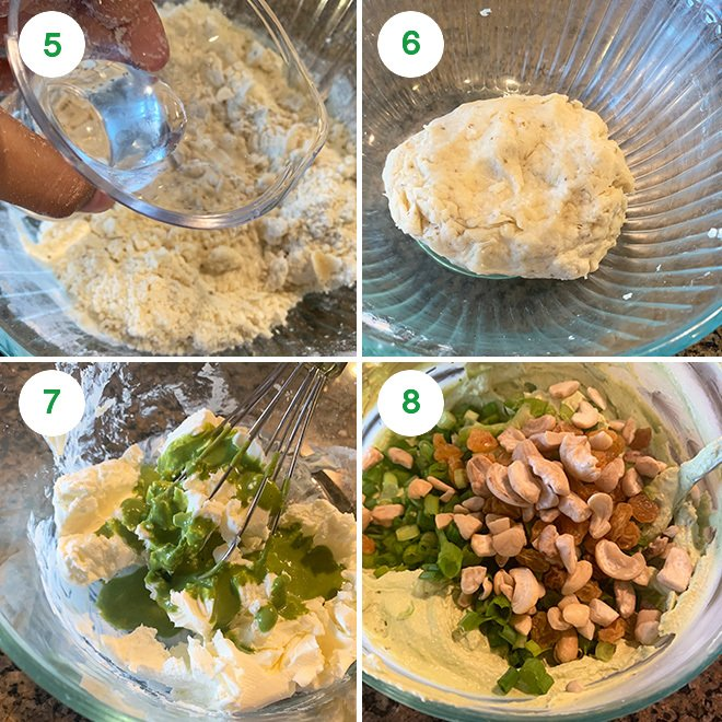 step by step picture collage of making baked cream cheese samosa