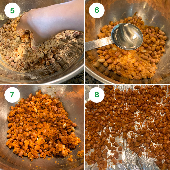 step by step picture collage of making baked masala peanuts
