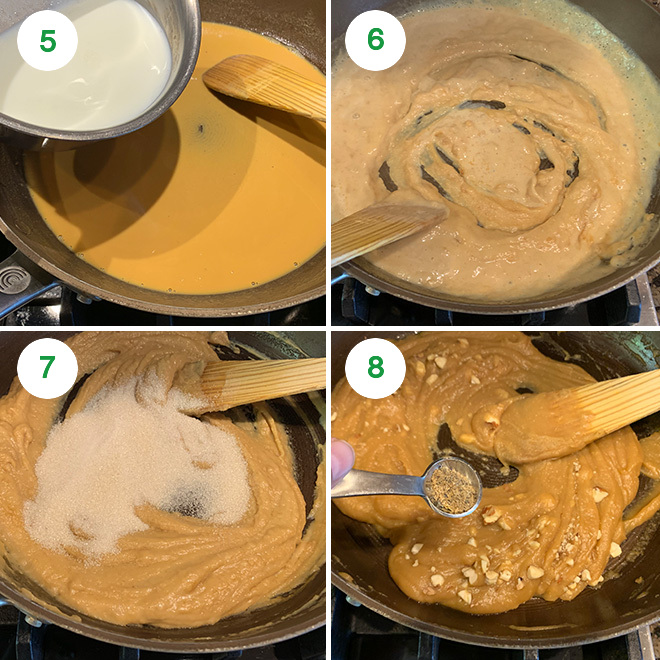 step by step picture collage of making besan halwa