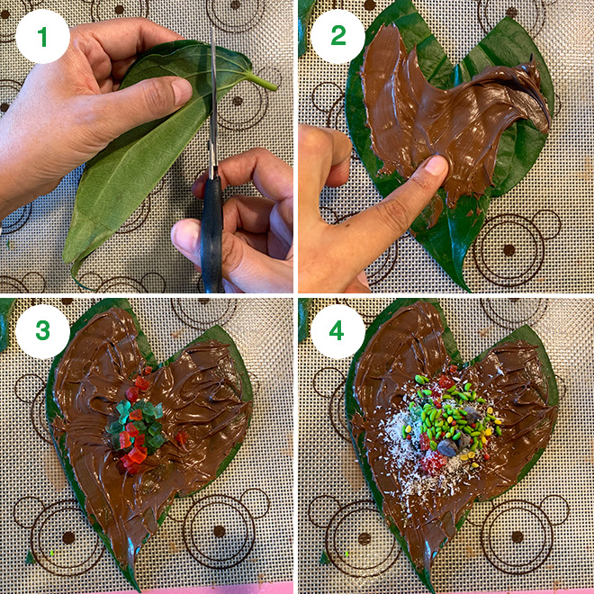 step by step picture collage of making chocolate paan