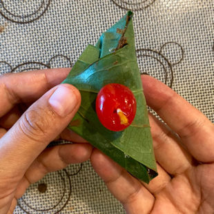 whole cherry on top of a folded paan