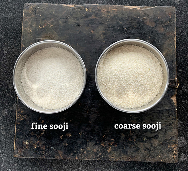 two bowls with fine and coarse semolina