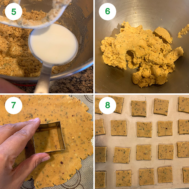 step by step picture collage of making masala cheese cookies