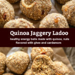 pinterest graphic for quinoa jaggery ladoo