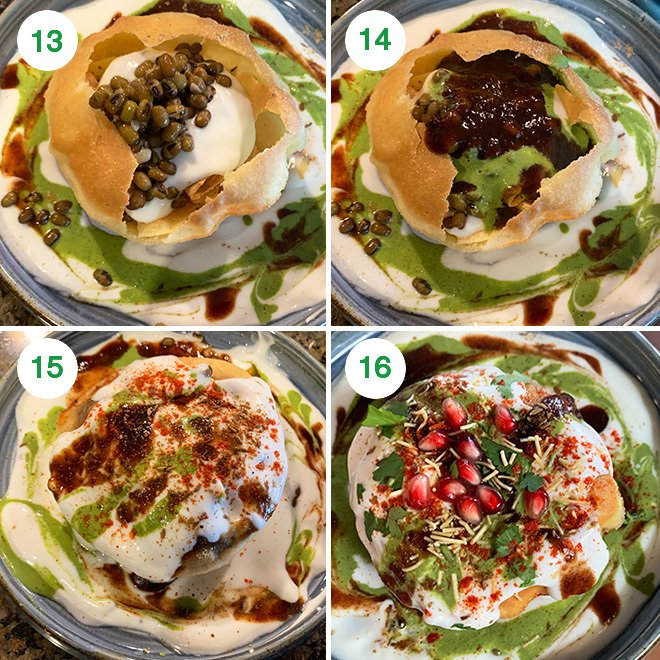 step by step picture of making raj kachori at home