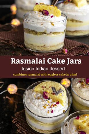 pinterest graphic for rasmalai cake jars