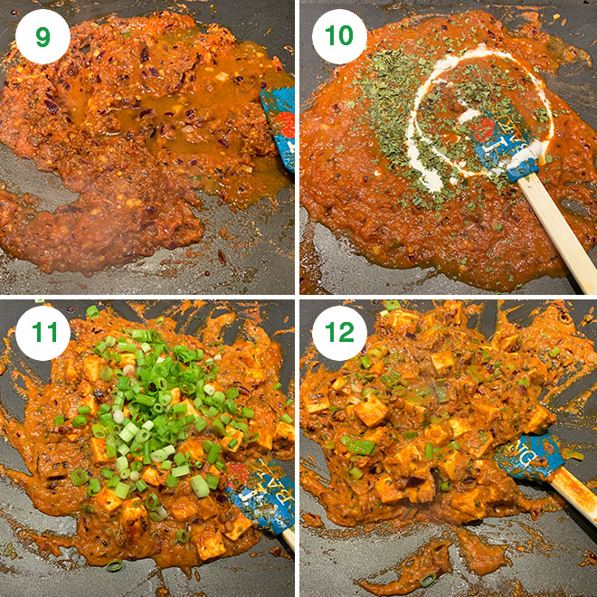 step by step picture collage of making tawa paneer