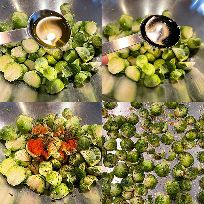 step by step picture collage of making maple roasted brussel sprouts