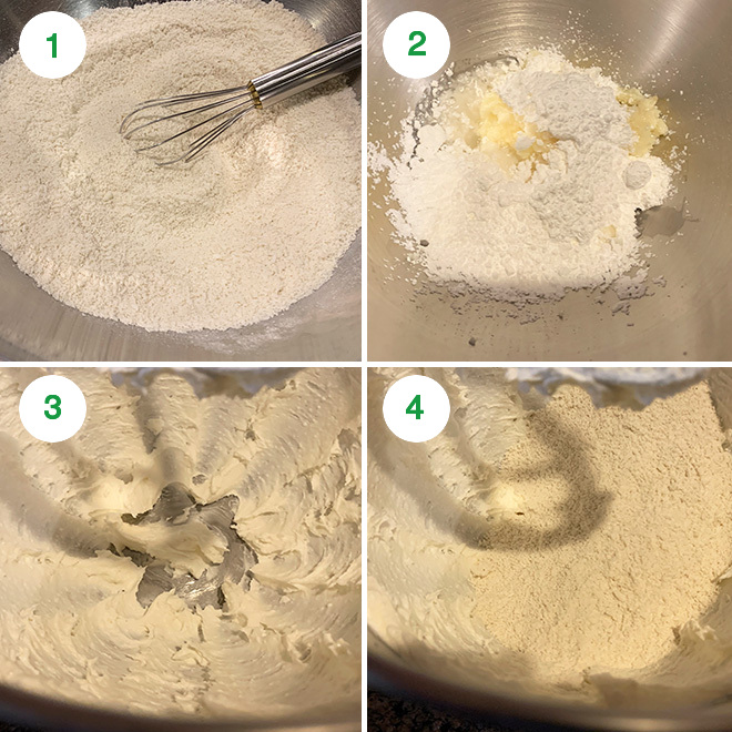 step by step photo collage of making coconut rose cookies