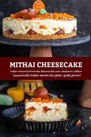 pinterest graphic for mithai cheesecake