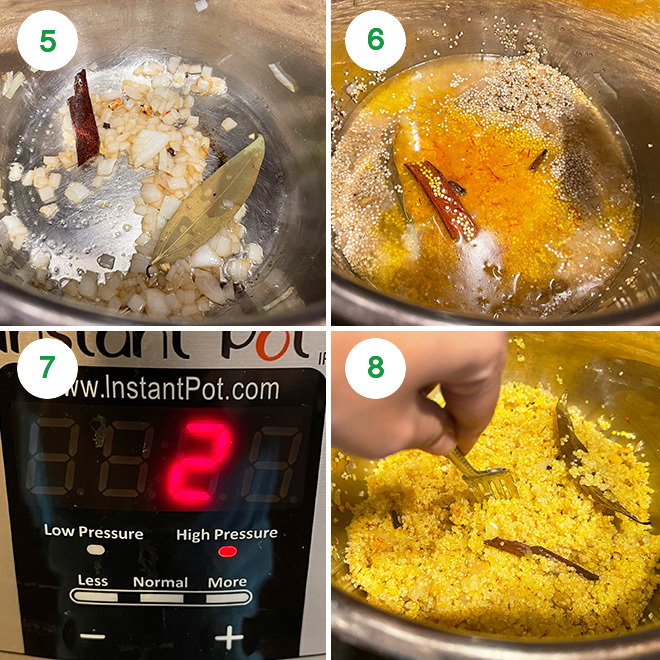 step by step picture collage of making saffron quinoa