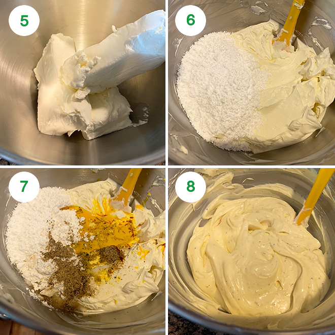 step by step picture collage of making no bake mithai cheesecake