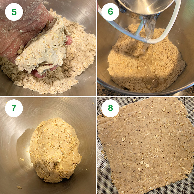 step by step picture of making oats namak pare