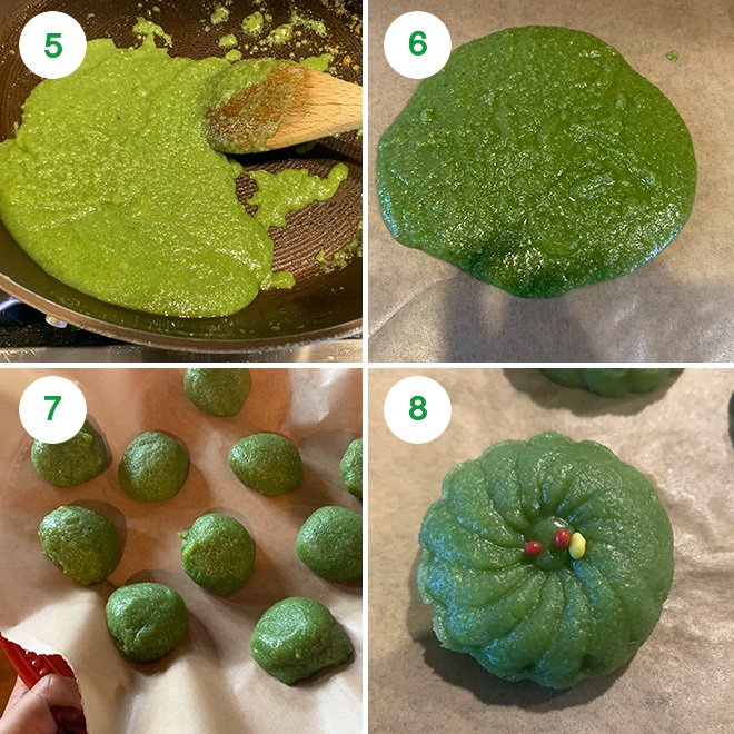 step by step photo collage of making paan peda