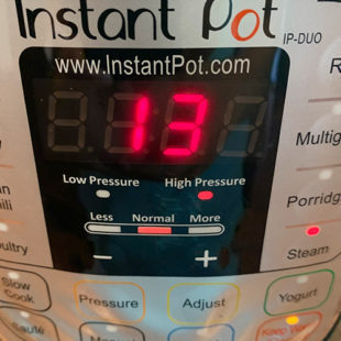 instant pot timer displaying 13 minutes