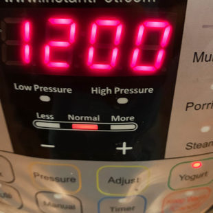 instant pot timer displaying 12 hours
