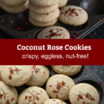 pinterest graphic for coconut rose cookies