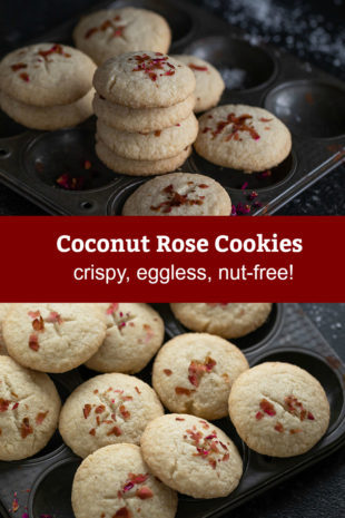 graphic pinterest for coconut rose cookies