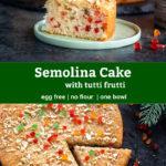 pinterest graphic for egg free semolina cake