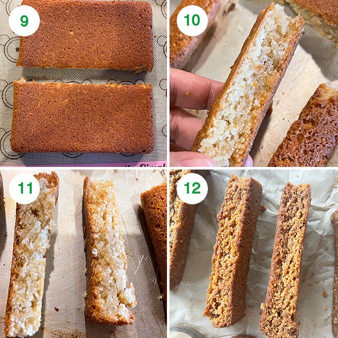 step by step picture collage of making eggless cake rusk