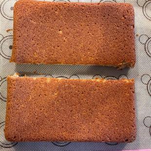 square cake cut into half