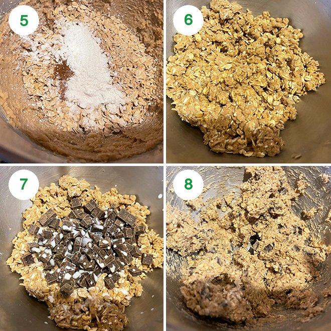 step by step picture collage of making eggless oatmeal chocolate chunk cookies