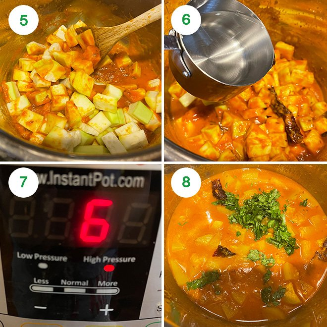 step by step picture collage of making lauki curry in the instant pot