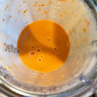 pureed tomato in a blender